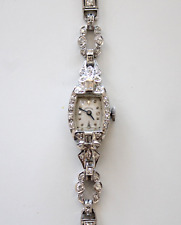 Vintage Ladies Hamilton Platinum & 14k White Gold 2 Carat Diamond Wrist Watch