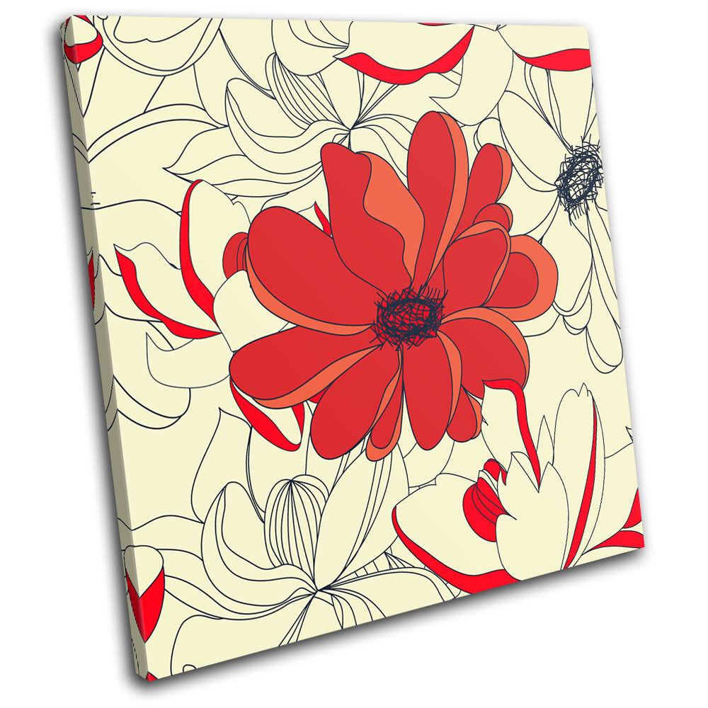 Floral Vintage Pattern Abstract SINGLE TELA TELA TELA parete arte foto stampa 956b64