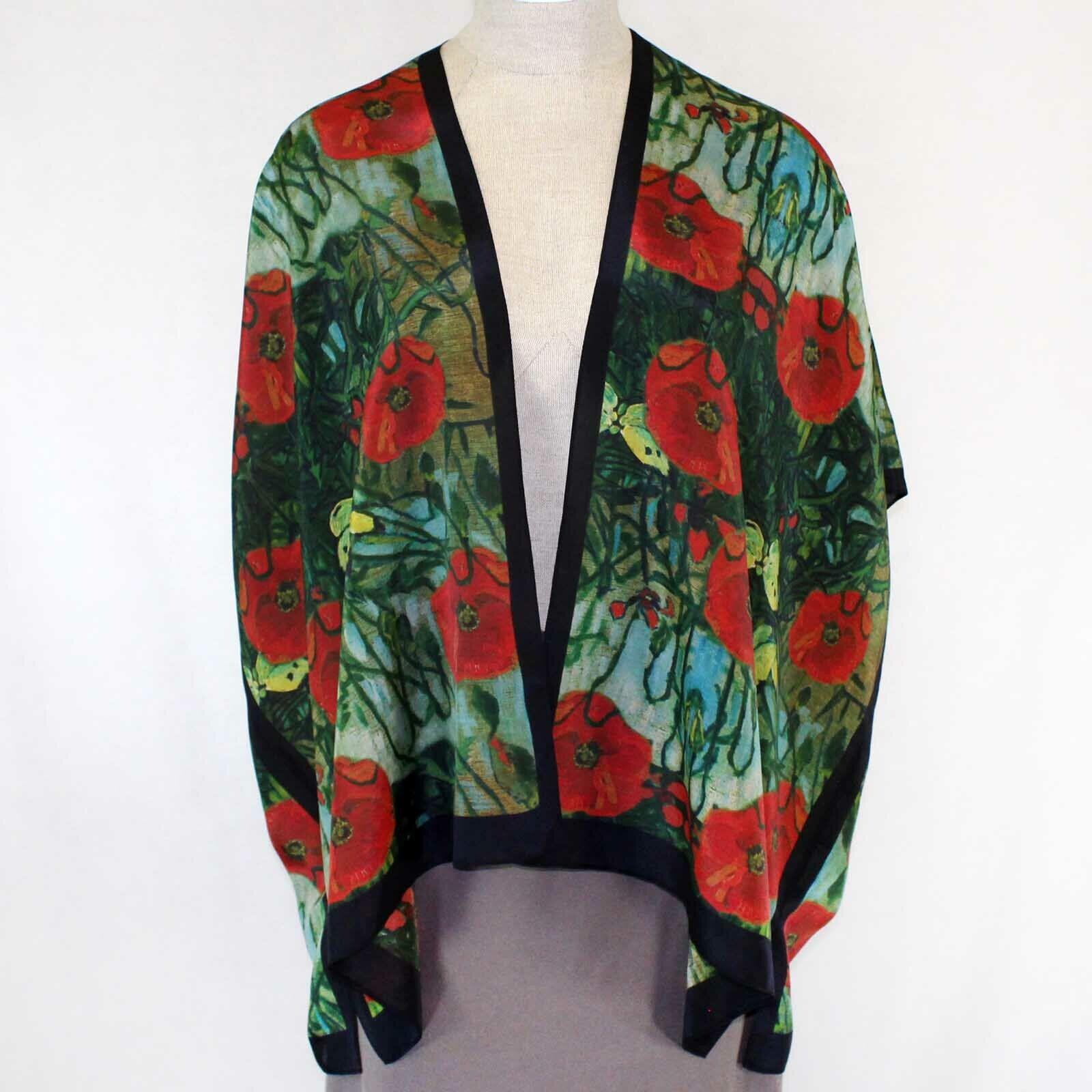 NOUVEAU Cocoon Maison coquelicots 100% Soie Long Kimono Veste L XL (1X, 2X)