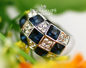 18CT-White-Gold-Plated-Sapphire-Made-With-SWAROVSKI-Crystals-Grid-Ring