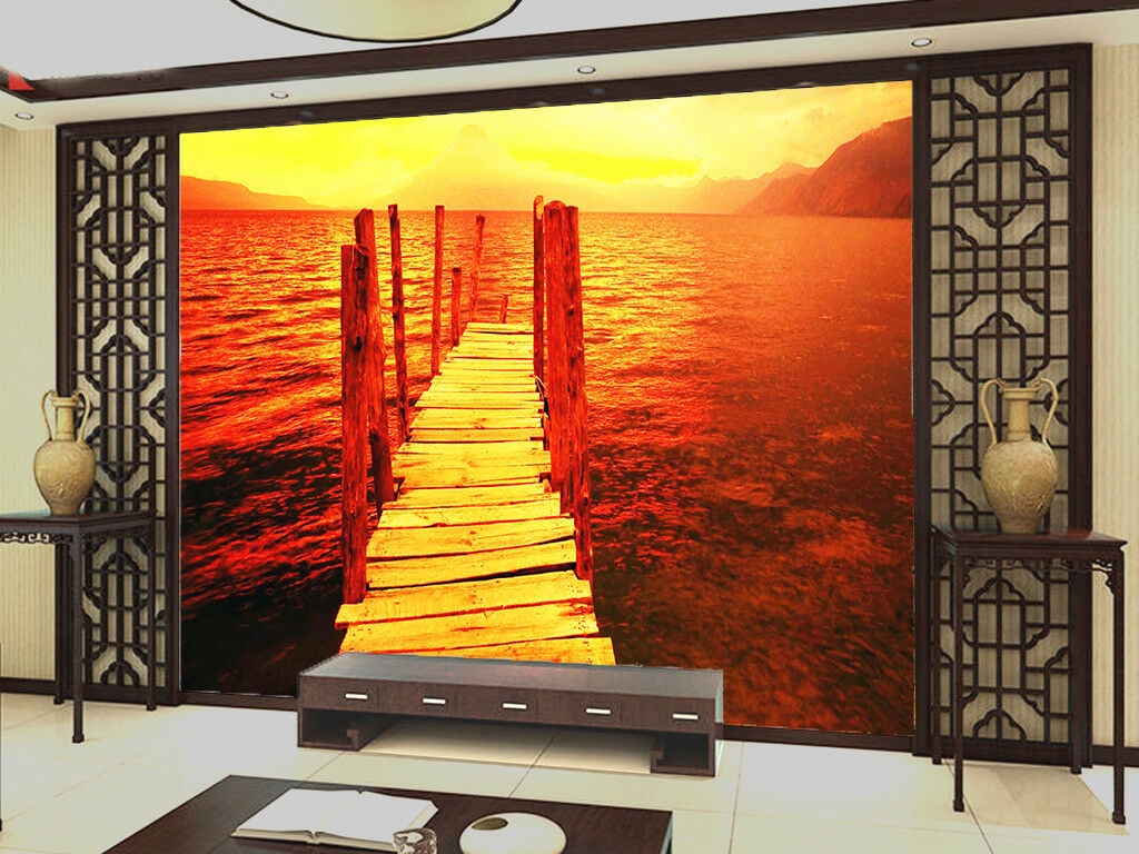 3D Bridge Sunset 405 Wallpaper Murals Wall Print Wall Mural AJ WALL AU Summer