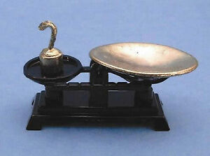 1-12-Scale-Black-Kitchen-Weighing-Scales-Tumdee-Dolls-House-Miniature-Accessory