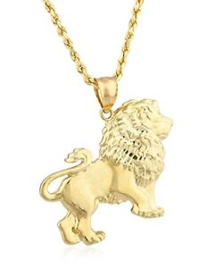 10k yellow gold lion pendant and 10k 24 inch rope chain ebay image is loading 10k yellow gold lion pendant and 10k 24 aloadofball Choice Image