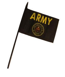 "Army Seal Crest 4/""x6/"" Flag Desk Table Stick Black Staff Wholesale Lot of 12 U.S"
