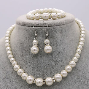Image Is Loading Wedding Bride Bridesmaid Pearl Crystal Necklace Earrings Bracelet
