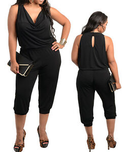 546587a0f4 Women Plus Size Black Cowl Neck knee length Playsuit Size 14 16 18 ...