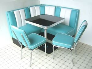 Details zu Retro Furniture 50s American Diner Restaurant Kitchen Corner  Booth Set 130 x 130