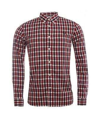 Fred Perry Herringbone Gingham Men/'s Long Sleeve Shirt M8290-842 Deep Red