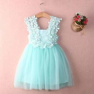 Baby Kids Clothes Party Birthday Flower Bow Mint Green Tulle Lace