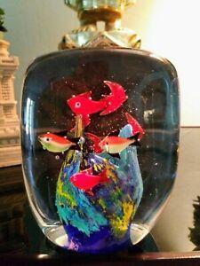 VINTAGE MURANO ITALIAN ART GLASS FISH AQUARIUM PAPERWEIGHT 🐟8 FISHES