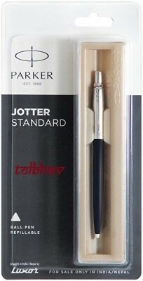 Parker Jotter CT Chrome Trim Ball Point Pen BP Blue Ink Black Body 0.8mm Vector