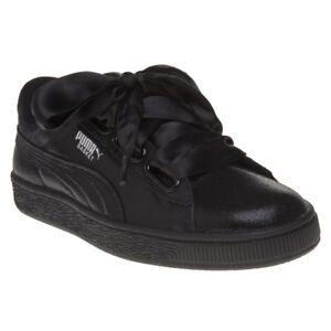 64205a374ab7 New Womens Puma Black Metallic Basket Heart Ns Leather Trainers ...