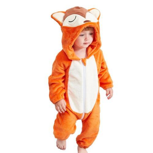 Newborn Baby Kid Hooded Rompers Cartoon Animal Jumpsuit Flannel Pajamas Bodysuit