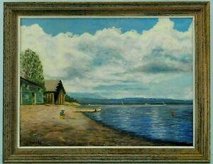 "M.JANE DOYLE SIGNED ORIG. ART OIL/CANVAS PAINTING ""YELLOWSTONE LAKE"" (SEASCAPE)"