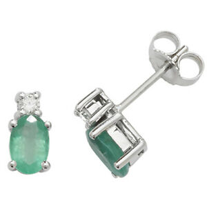 9ct White Gold Oval Shaped Emerald and Diamond Stud Earrings