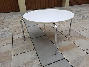 Das Bild Wird Geladen Couchtisch Bauhaus Tisch Stahlrohr Weiss Rund 60er 70er