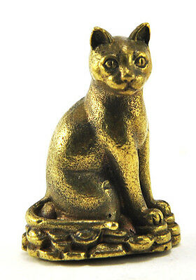 Miniature figurine brass sitting cat with TREASURE Siamese Cat Amulet luck THAIL