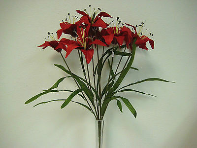 RED Tiger Lily Bush Bouquet 1 x 9 Artificial Silk Flowers 435-RD