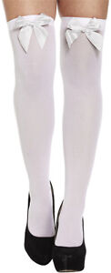 New-Ladies-Women-Hold-Ups-Over-Knee-Stockings-Socks-Thigh-High-With-Bow-White