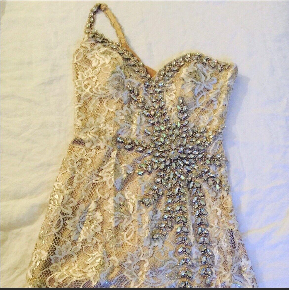 Terrani Couture Crystal Nude Dress Wedding Formal - image 5