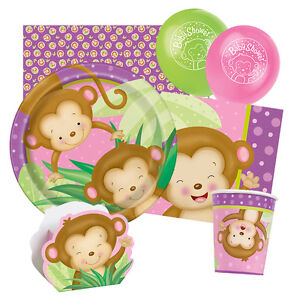 Girl monkey baby shower tableware decorations party - Baby shower monkey decorations for a girl ...