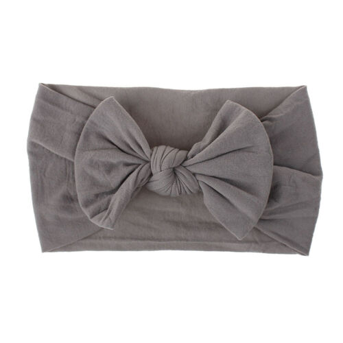 Toddler Girls Baby Turban Solid Headband Hair Band Bow Accessories Headwear