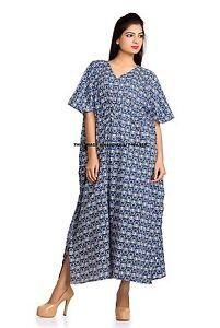 Details about Blue Long Kaftan Indian Cotton Women\'s Nightwear Dress Maxi  Plus Size Dress 52\