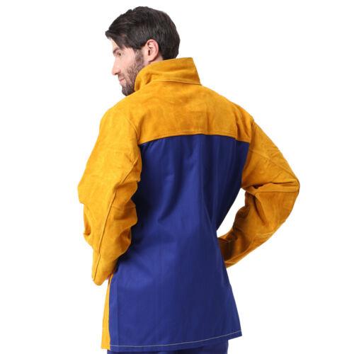 AP-306080 Fire Retardant Cowhide Leather Welding Jacket w// FR Sateen Cotton Back