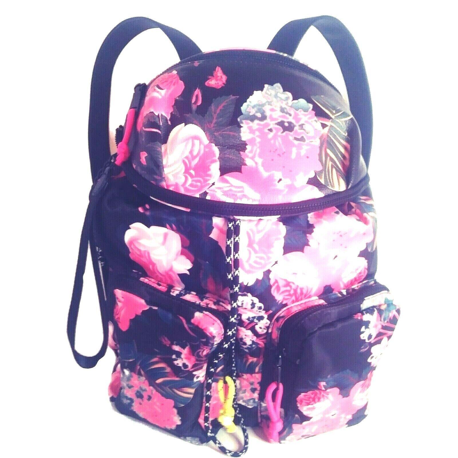 Steve Madden Backpack 2-for-1 w/ Removable Belt Bag Black Floral Pockets NEW Tag