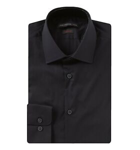 John-Varvatos-Star-USA-Men-039-s-Dress-Shirt-34-35-Sleeve-Regular-Fit-Solid-Black
