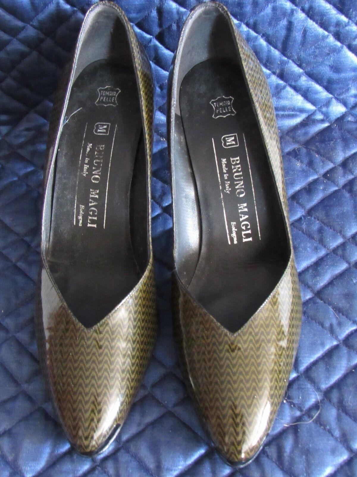 supporto al dettaglio all'ingrosso BRUNO MAGLI Patent Leather Argyle Pointed Toes Heels Heels Heels Pumps 7.5 AA ITALY - NIB  marchi di moda