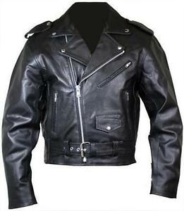 MENS-BLACK-MOTORCYCLE-MOTORBIKER-BRANDO-PERFECTO-CLASSIC-LEATHER-JACKET-M-L-XL