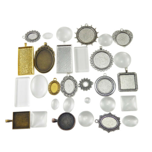 15 sets Pack Glass Cameo Base Tray Bezel Pendant Charm Mix Lots Jewelry Crafts