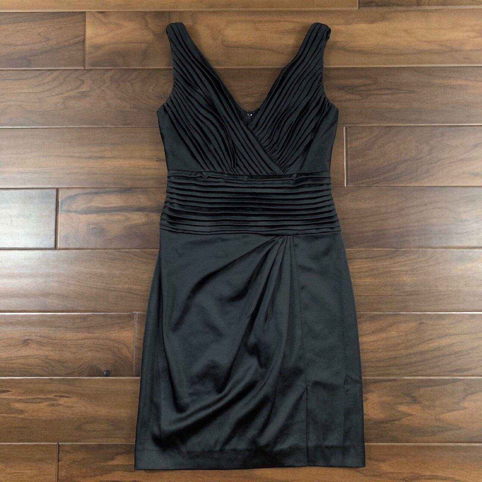 Tadashi Collection damen Größe 4 schwarz Pintuck Pleat Sleeveless Sheath Dress