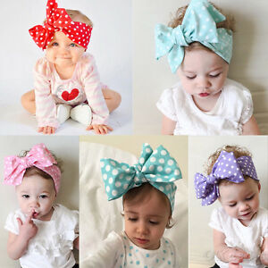 Girls-Kids-Baby-Large-Bow-Headband-Hair-Band-Headwear-Head-Wrap-Accessories