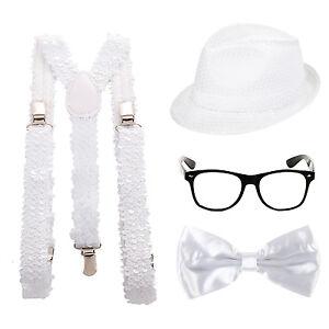 Sparkly Glitter Sequin Fancy Dress Costume Bow Tie Hat Braces /& Glasses Set