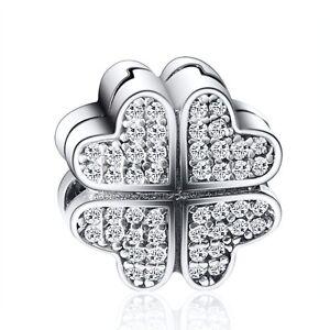 CZ-Clover-Style-Silver-European-Clip-Bead-Fit-925-Sterling-Charm-Bracelet-Chain