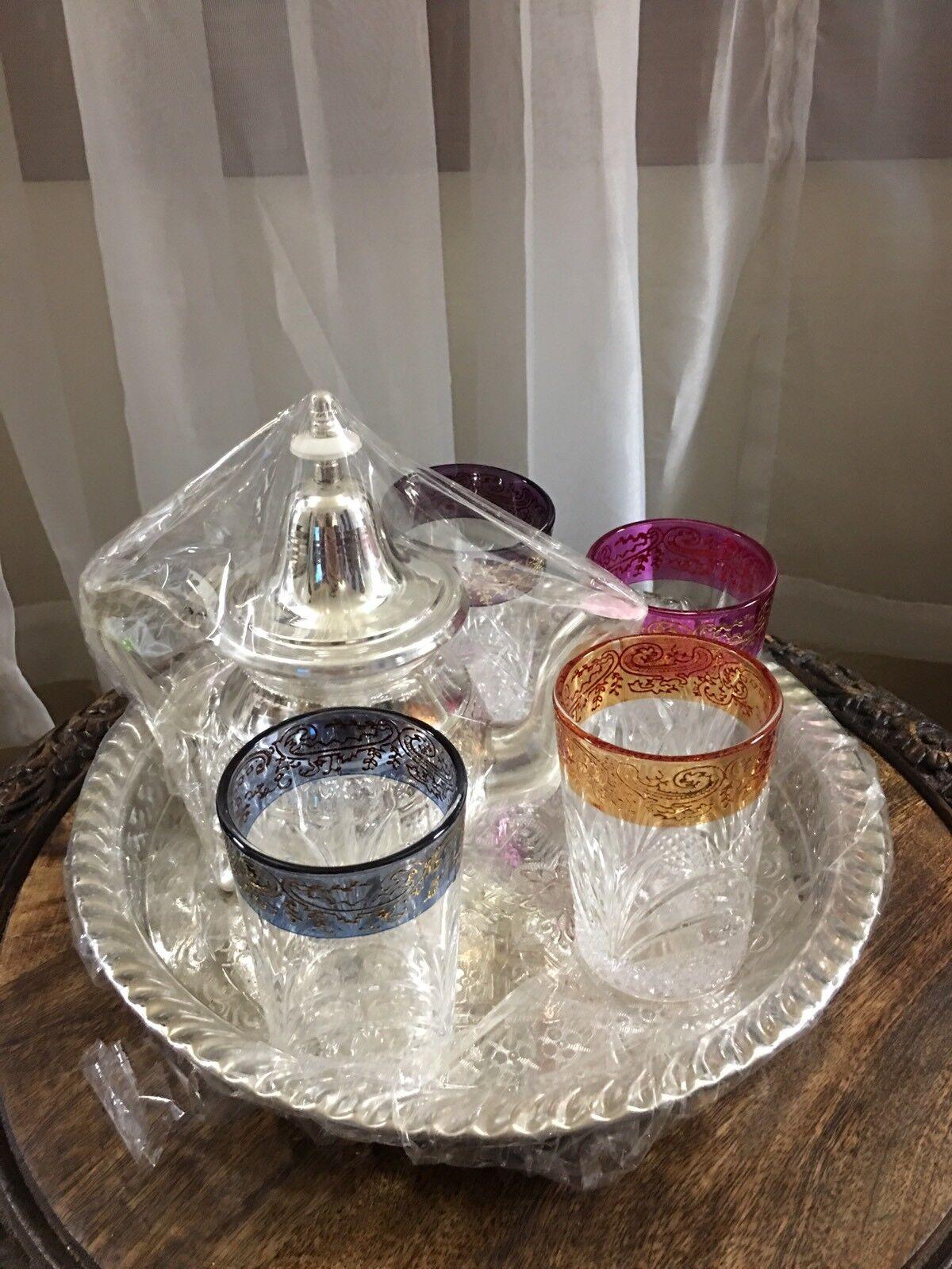 Morccan tea set thé, verres, Thé Tasses à Thé, Plateau,    Lot de 4 tasses, tea set