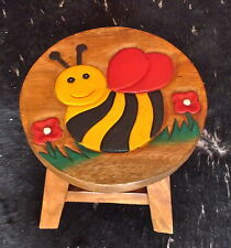 Kinder Hocker Stuhl, Kinderhocker, Sitzgruppe, Holz, Kinderstuhl, süße Biene