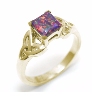 Celtic Trinity Knot Ring 9ct gold 1.25ct Princess Cut Dragons Eye Opal (OP76)