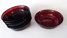 "Rare ARCOROC FRANCE RUBY RED GLASS BOWLS SET OF (6)  5 3/4"" dia"