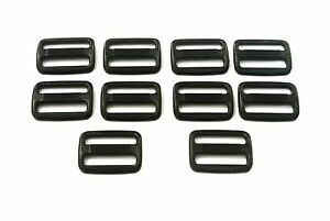 50-x-25mm-Black-Plastic-3-Bar-Slides-For-Collars-Webbing-Bags-Straps-Fastenings