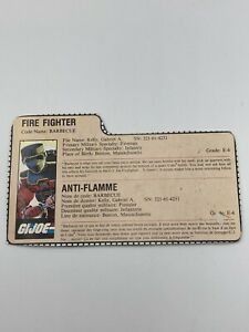 GI Joe Barbeque Fire Fighter File Card Cardback Only Canadian French Vintage