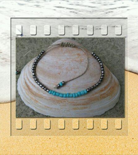 Metallic Beaded Hemp Ankle Bracelet Beaded Anklet Handmade Hemp Anklets Beaded