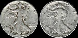 1-00-Face-Value-Two-2-039-Junk-039-Walking-Liberty-Half-Dollars-90-SILVER-US-Coins