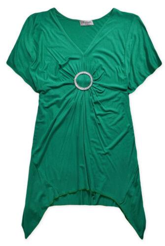 Ladies Top New Womens Plus Size Brooch Green T Shirt UK 14 16 18 20 22 24 26 28