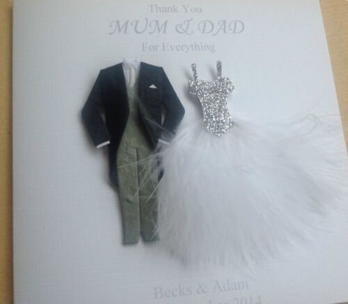 any names Personalised Thank You Wedding Card Mum /& Dad Grandparents