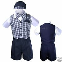 Infant Boy Toddler Formal Shorts Suits Navy Blue Checks Vest Set Gingham Sz S-4t