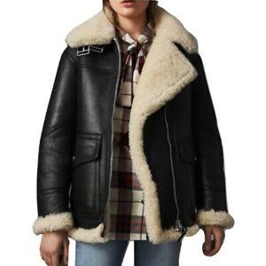 Real Leather Shearling Jacket Black Sheep Skin Aviator Jacket Handmade Winter Jacket