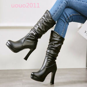 Women-Block-High-Heel-Mid-Calf-Boots-Pull-On-Fashion-Platform-Elagant-Shoes-Size